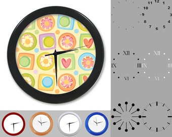 Heart Flower Tile Wall Clock,Ditsy Block Design, Abstract Square, Customizable Clock, Round Wall Clock, Your Choice Clock Face or Clock Dial