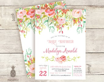 Floral Girl Baby Shower Invitations
