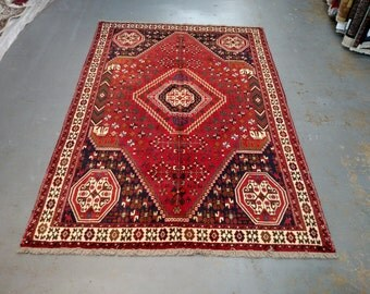 Persian Rug - 1980s Hand-Knotted Shiraz Rug (3575)
