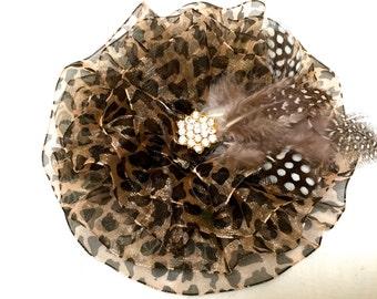Leopard Brooch, Animal Print Pin, Leopard Corsage, Shawl Pin, Magnetic Brooch