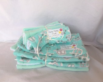 Mint Cars Washcloth & Burp Cloth Set