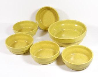 Mikasa Painted Sands Yellow Stone Salad Set - Midcentury Dinnerware - Set of 6 Bowls - 70s Dinnerware Hippie Boho Organic Stoneware