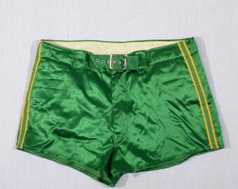 Vintage 30s 40s Satin Boxing Trunks Shorts 1930s 1940s Skinners Athletic Trunks Kelly Green Satin Yellow Stripe Buckle Waist / size 32