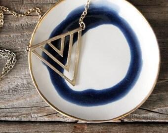 Swirled Pattern Deep Blue Navy Jewelry/Ring Organic Circular Dish with Gold Rim