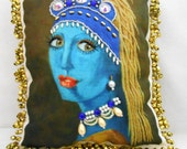 """BEADED PORTRAIT PILLOW, Belly Dancer with a Pearl Earring, 9""""x 8"""", My Orig. Painting Printed on Fabric, Beaded, Beaded Fringe, Free Shipping"""