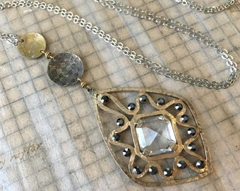 Vintage Rhinestone and Etched Metal Necklace | Upcycled Earring Mixed Metal