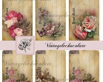 ON SALE Digital Cards and Tags, Floral Shabby Tags, Vintage Rose Paper Labels, Digital Postcard Tags, Vintage Scrapbook Supply Paper.  No. 4