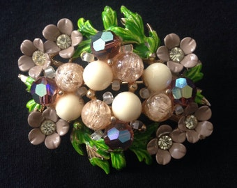 Vtg 60s Selini Rhinestone Enamel Floral Beaded Brooch Signed