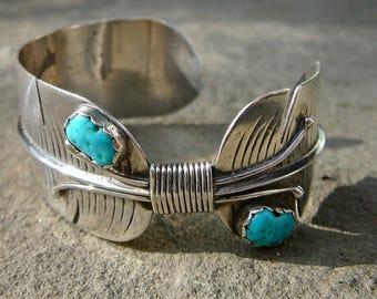 Native American Turquoise Bracelet,Native American Turquoise Jewelry,Navajo Turquoise,Navajo  Jewelry,Turquoise Silver Bracelet,Feather Cuff
