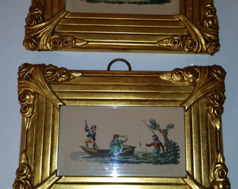 "Antique Prints 1870's Pair of Framed Hand Tinted Prints Children at Play Made by Sungott Art New York Art Gravure Prints 5 1/2"" x 8"