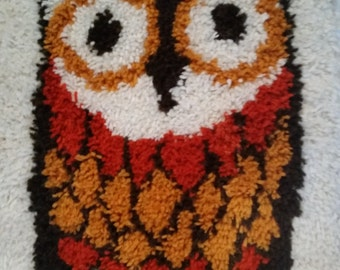 "Vintage Owl Rug 1970's Shag Carpet Wall Hanging 70's Hand Made Hooked Rug Owl From Kit Mid Century Home Decor 19""  x  26"""
