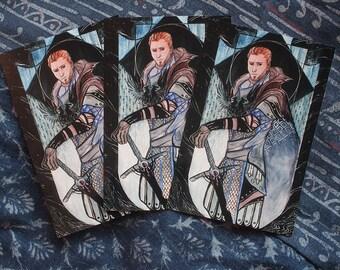 Dragon Age 4x6 Print - Alistair Theirin Grey Warden Tarot Art