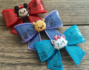 SALE!!! LAST ONE! Tsum Tsum Sequin Bow Hair Clips-Set of 3 Tsum Tsum Bows-Disney Tsum Tsum Hair Clips-Disney Sequin Bows-Tsum Tsum Hair Bows