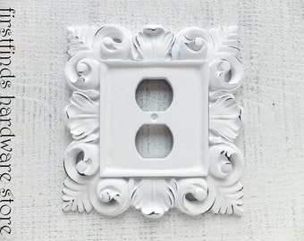 Outlet Cover Electrical Plug Plate Shabby Chic White Black Cottage Decor Painted Cover Ornate Framed Resin Wood Duplex ITEM DETAILS BELOW