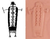 Petroglyph Shaman Southwest Design Stamp Tool for PMC Ceramic Polymer Clay  ScrapBooking & Textiles - Southwest Rock Art Figure Rubber Stamp