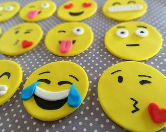 "12 Fondant ""Emoji"" inspired cupcake toppers, edible yellow faces, happy smile, kids birthday party, fun, adult party"