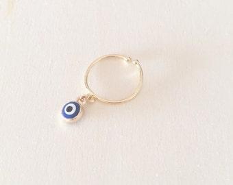 Evil eye ring, Charm ring, dainty gold ring, Stacking ring, Adjustable ring, Skull ring, Minimalist ring, Thin ring, Midi ring