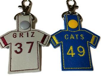 Personalized Football Jersey Key Chain, Baseball Jersey Key Chain