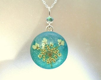 Real Pressed Flower Queen Annes Lace Blue Green Sterling Silver Wildflower Pendant Necklace