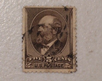 1882 US Postage Stamp, Scott # 205, 5 Cents, 20th President James A. Garfield