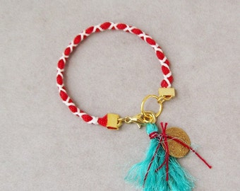 Red white friendship bracelet, Greek folk bracelet, red white Martis bracelet with gold coin charm and turquoise tassel, braided boho cuff