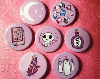 Spellbound Badge Set - Witch - Magic - Spells - Spellbook - Potion - Moon - Skull - Crystals - Badges - Christmas gift
