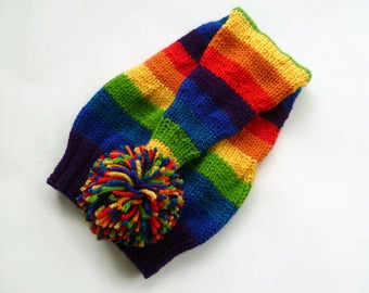 Rainbow Stocking Hat - Hand Knit Hat - Hand Knit Elf Pixie Hat - Women Men Rainbow Festival Hat - Long Tailed Stocking Hat - Clickclackknits