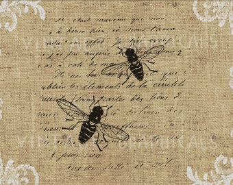 Honey Bee French Instant Clip Art Graphic Digital Download For Iron On Fabric Transfer Burlap