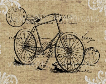 Bicycle Carte Postale Instant clip art graphic digital download image for iron on fabric transfer burlap decoupage pillow tote No gt326