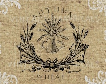 Autumn wheat instant clip art Graphic download image for iron on fabric transfer burlap decoupage pillow card scrapbook tote  gt437