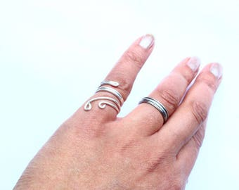 Silver Pinky Ring Adjustable Wraparound Silver Filled