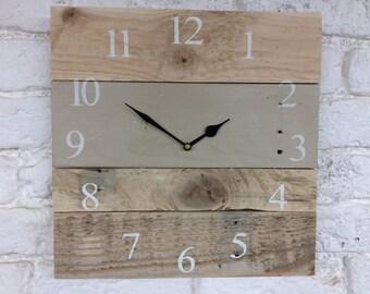 Wooden Clock - Large Wall Clock - Rustic Clock - Country Grey - PalletWood Clock - Farmhouse Clock - Reclaimed Wood Clock - Rustic