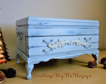 SPECIAL SALE Vintage Shabby French Large Jewelry Chest.  Hand Chalk Painted. Light Blue. Louis Blue. Vintage Rosalco Box