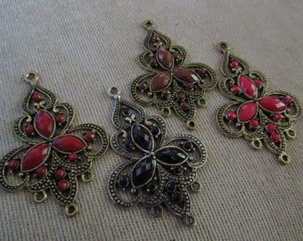 Chandelier Earring Findings Metal Rhinestones Faceted 4 Colors Black Brown Deep Red Dark Pink Antique Silver Antique Bronze Antique Gold
