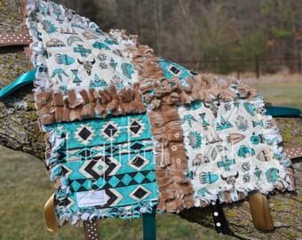 Tribal Tee-Pee Baby Tag Blanket / Minky Blanket for Boy steer skulls and arrow heads