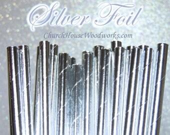 25 SILVER Paper Straws: Wedding, Baby Shower, Birthday Party, Bridal Shower, Wedding Venue, Table Decor, SILVER Decor, Foil SILVER