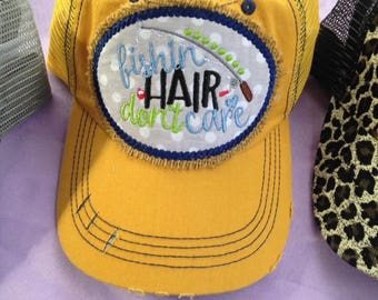 Fishing Hair dont Care trucker hat