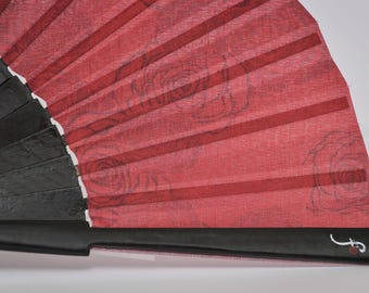 Designer HAND FAN | red rose floral pattern design with black ribs | unique gift for her | fashion accessories | Free Shipping Worldwide