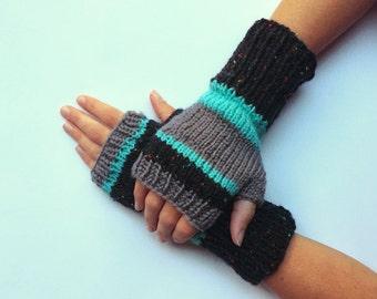 Knit fingerless gloves arm warmers fingerless mittens knit wrist warmers hand warmers striped blue grey black