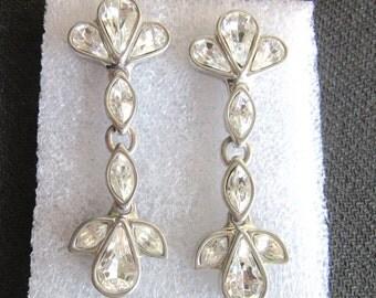 Rhinestone Drop Earrings Chandelier Style Shoulder Dusters Vintage