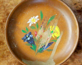 Vintage Jewellery Tray/Music Bowl- Folk art: handmade and hand painted
