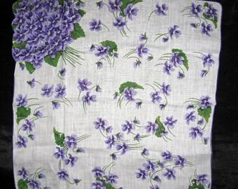 Bride Something Borrowed, Violet Handkerchief, Violets Bouquet Bridal Gift Handkerchief Vintage