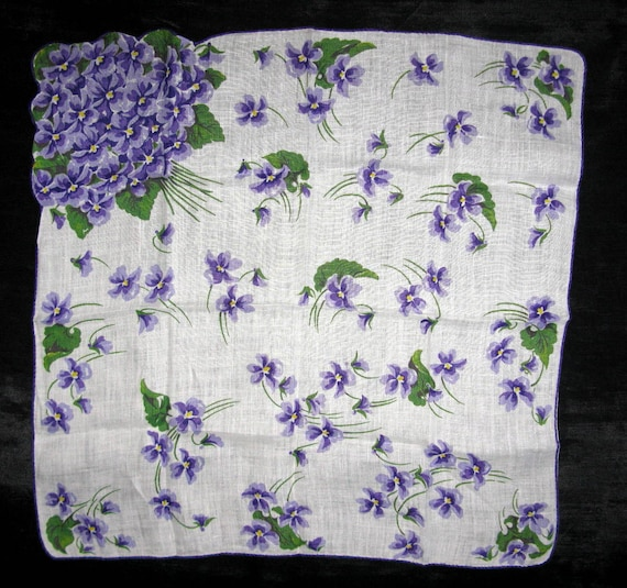 Bride Something Borrowed, Violet Handkerchief, Violets Bouquet Bridal Gift Handkerchief Vintage