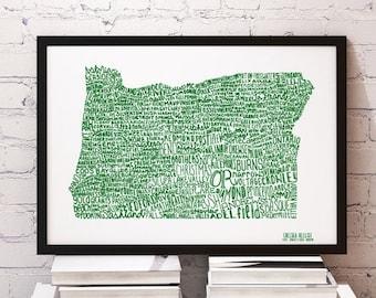 SALE CUSTOM COLOR Oregon Cities Typography Print; Wall Art and Decor; Christmas Gift; Wedding Anniversary Graduation Gift