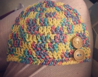 Newborn Crochet Button Beanie