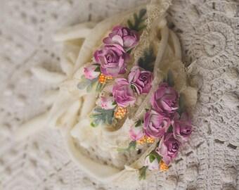 Soft purple flowers headband/newborn prop, photography prop, newborn headband, newborn prop, baby headband