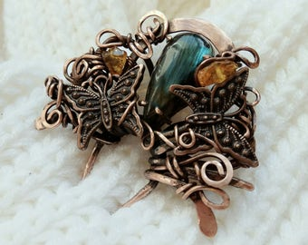 Copper wire wrapped hair comb with green labradorite and amber Hair stick Pin Hair fork Wire wrap bridal hair Bridal hair comb Gentle comb.