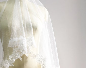 Reserved for kyrchiara -  Ivory Cathedral Length Veil, Mantilla Veil, Swiss polka dots and lace trim veil, Bridal Veil Blusher, Wedding