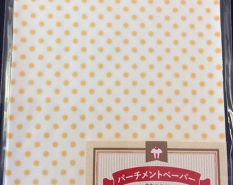 CLEARANCE 30 Sheets of Pre-Cut Mini Polka Dot Print Parchment Paper in Yellow.