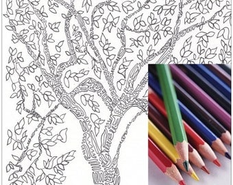 Coloring Page, Adult Coloring Book, Tree Coloring, Zentangle, Under 1,Tina Ames, Mothers Days Gift, Meditation, Doodles,Senior Gift,Tree Art